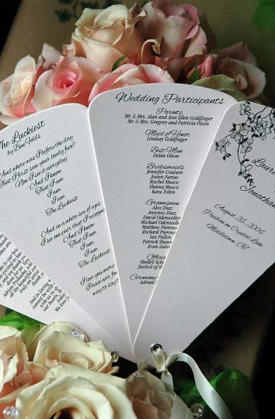 Flower Blossom Fan wedding program fan fan program
