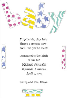 birth announcements, baby shower invitations