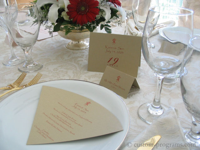Fan shape menu, Gold Love - Fan style Menu Card, Tent table cards and tent fold placecards