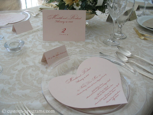 Pink Heart - Heart Shaped Menu, Flat Table Cards and tent fold placecards