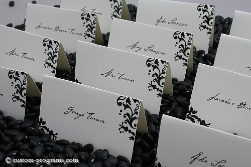 placecards, table cards, guests name cards, bodoniswirls