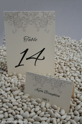 table cards for reception, placecards, meny, filigree set