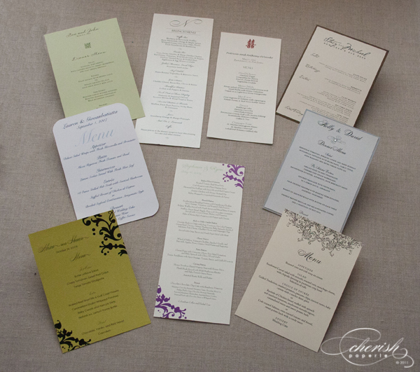 Menus, wedding menu cards, printed wedding menus, round menus, circle menu