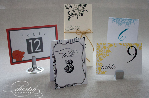 table numbers, printed table cards