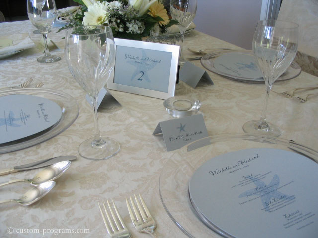 round menus, circle menu, circular wedding menus, Round Menu, Blue Starfish - Matching Menu, Table Cards and placecards