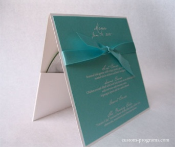 Menu for receptions, Tiffany Blue, Menu, CD Favor