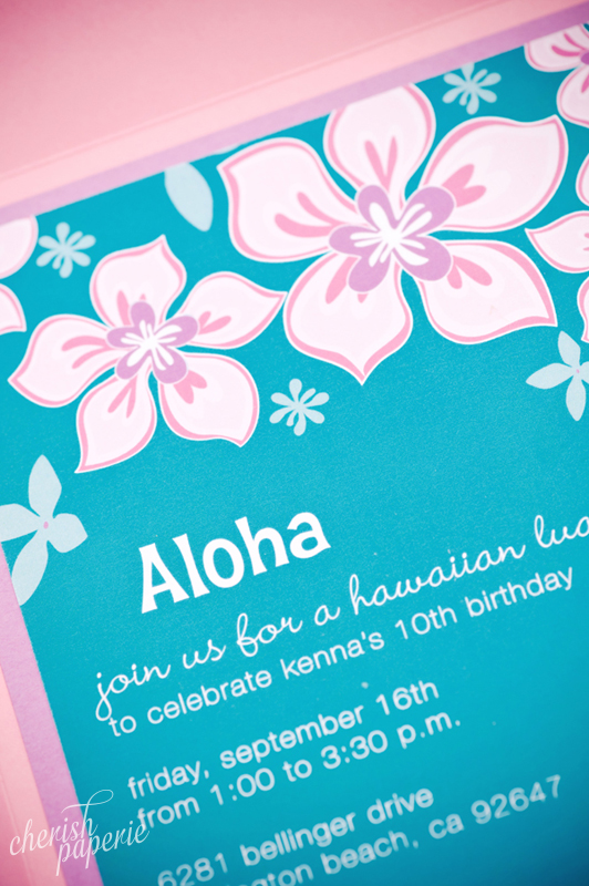 Kennas Luau 10th Birthday Party Invitations Stationeries Gallery Get Inspired Cherish Paperie